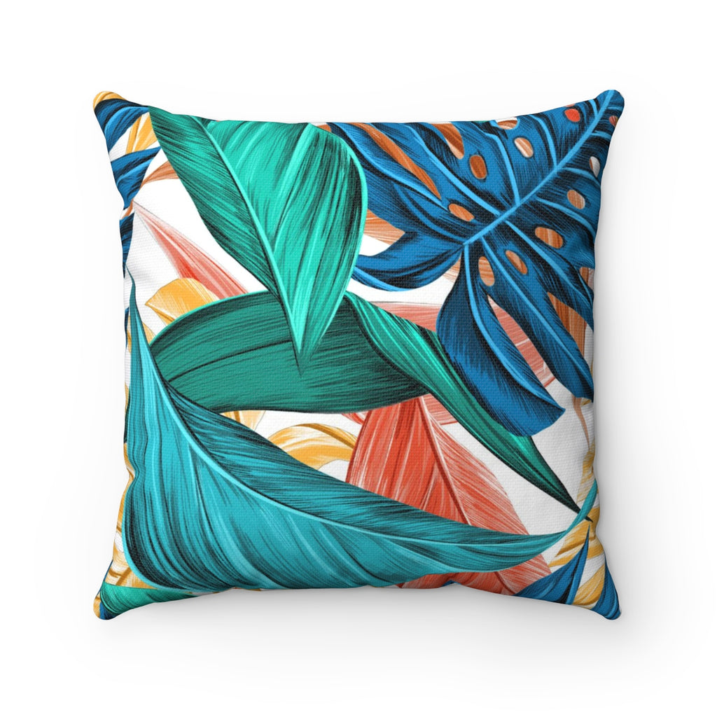 Tropical Pillow, Tropical Leaves Pillow, Tropical Decor, Tropical Bedding, Palm Leaf Pillow, Island Decor, Indoor Pillow - jewelry-by-meesh