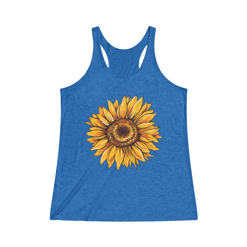Sunflower Racerback Tri-Blend Tank Top