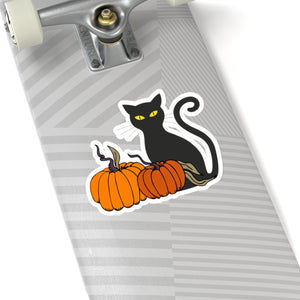 Pumpkin and Cat Halloween Sticker - jewelry-by-meesh
