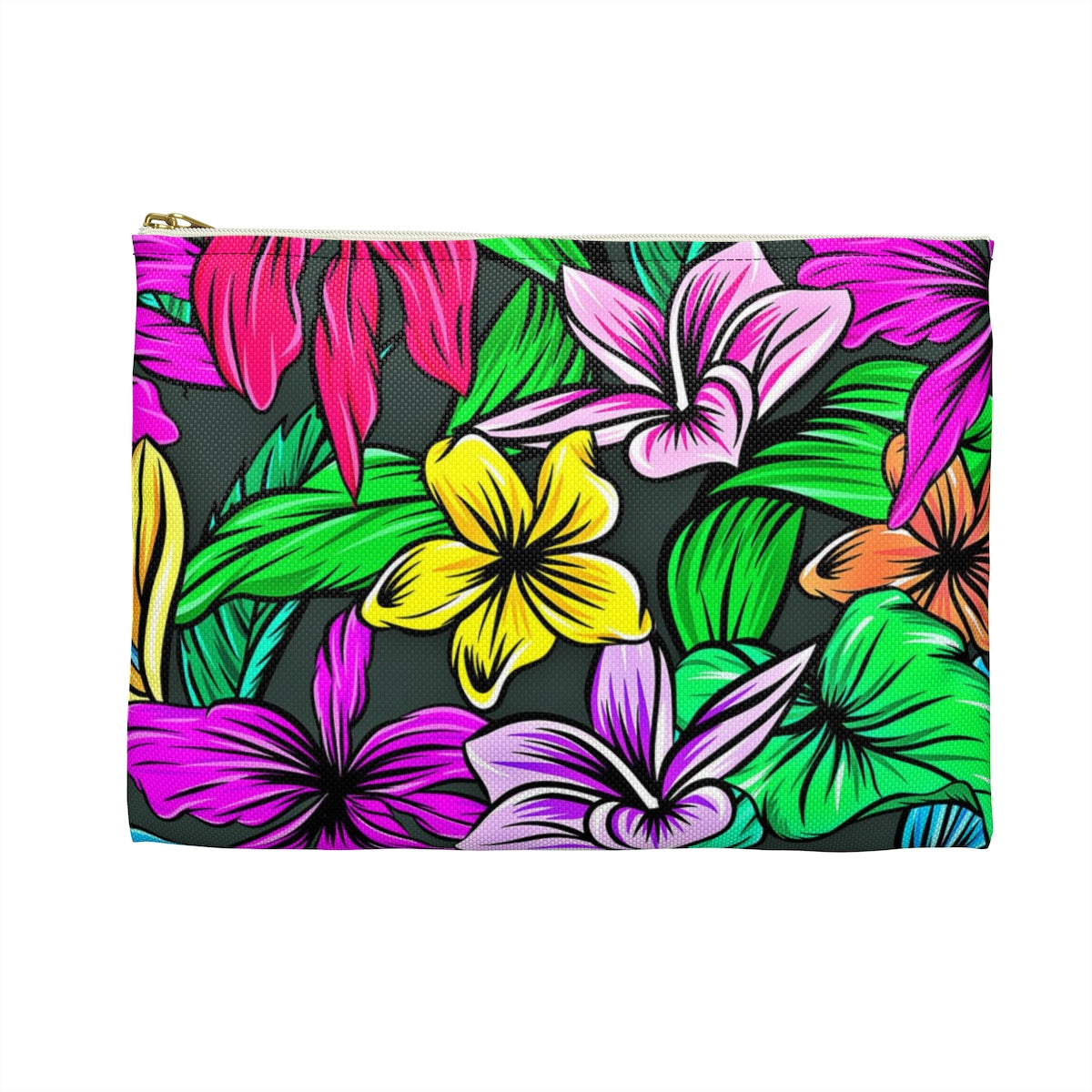Accessory Pouch, Tropical Accessory Pouch, Floral Pouch, Zippered Pouch, Cosmetic Pouch, Pencil Case, Back to School Pouch, Gadget Pouch - jewelry-by-meesh