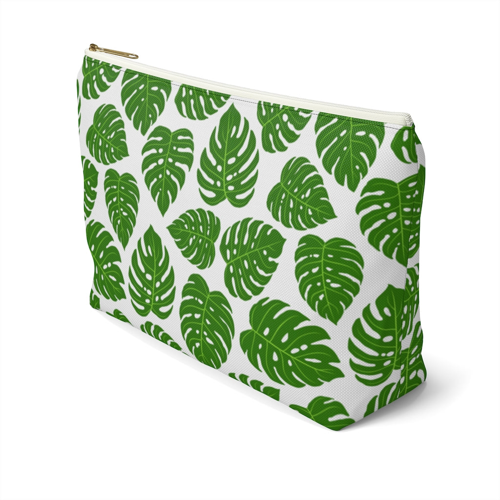 Monstera Leaf Accessory Pouch with T-Bottom