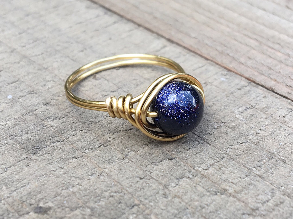 Blue Goldstone Ring - jewelry-by-meesh