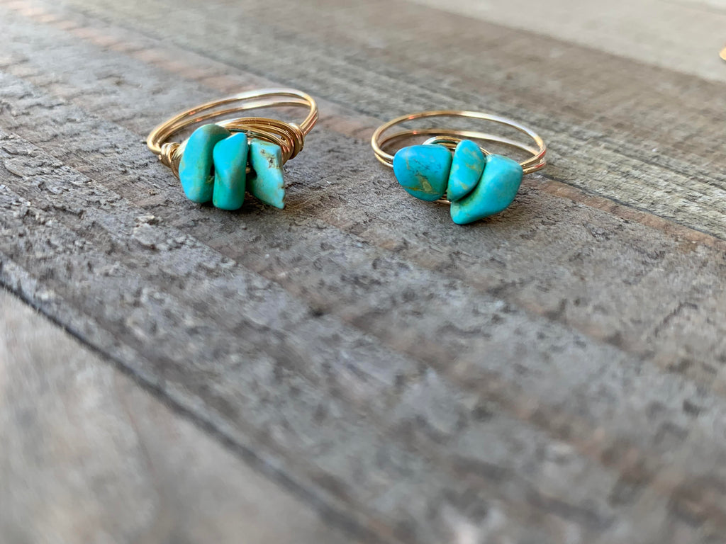 Turquoise Chip Wire Wrapped Ring - jewelry-by-meesh