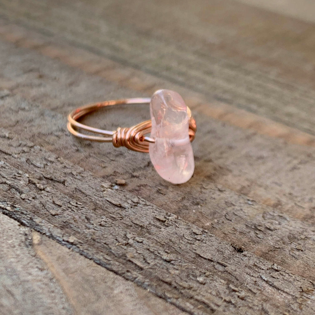 Rose Quartz Wire Wrapped RIng - jewelry-by-meesh