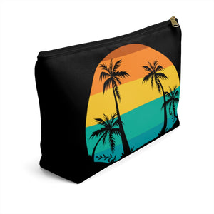 Tropical Scene Accessory Pouch with T-Bottom