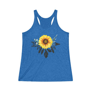 Boho Sunflower Racerback Tri-Blend Tank Top