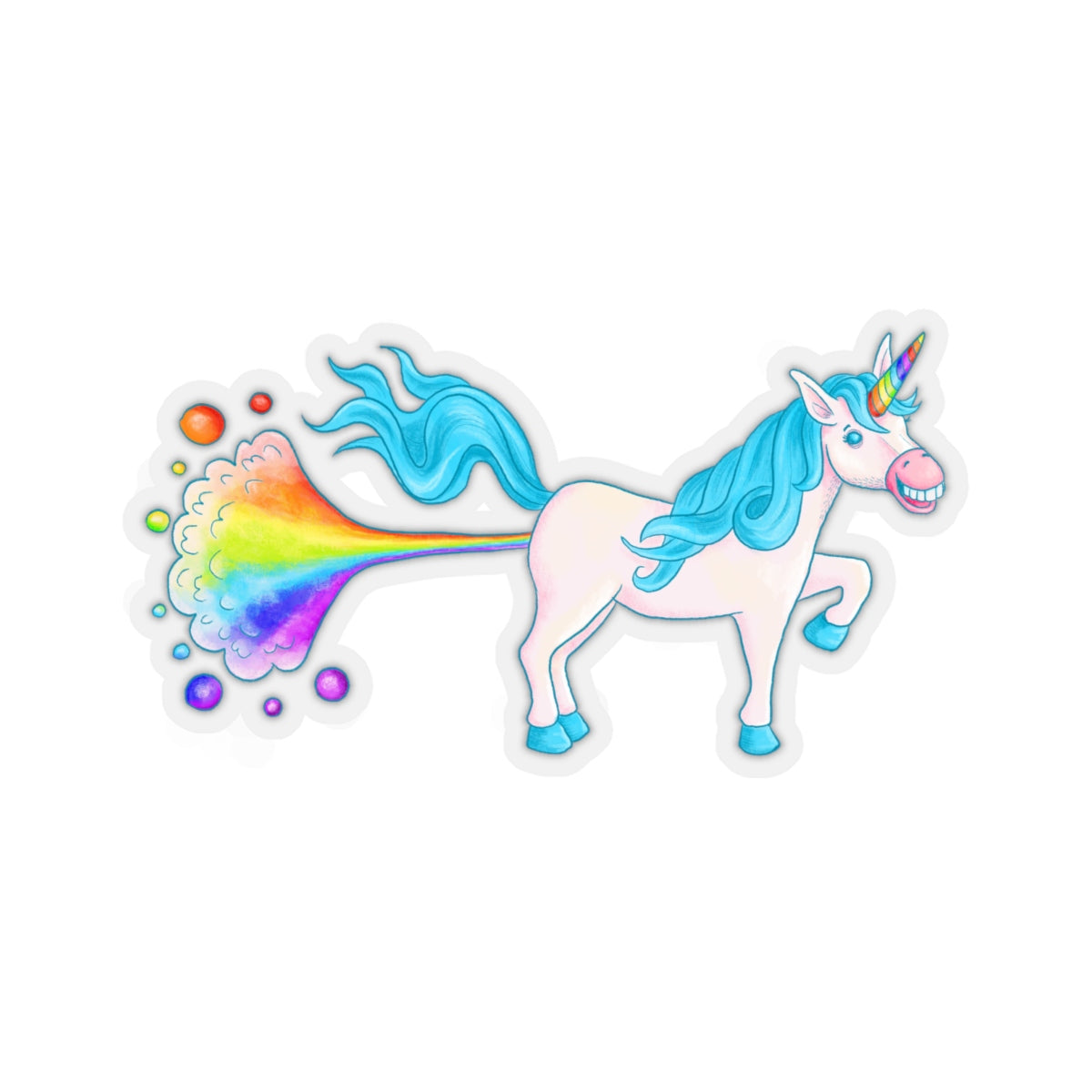 Rainbow Farting Unicorn Sticker, Rainbow Sticker, Unicorn Sticker, Rainbow Unicorn Sticker, Funny Sticker - jewelry-by-meesh