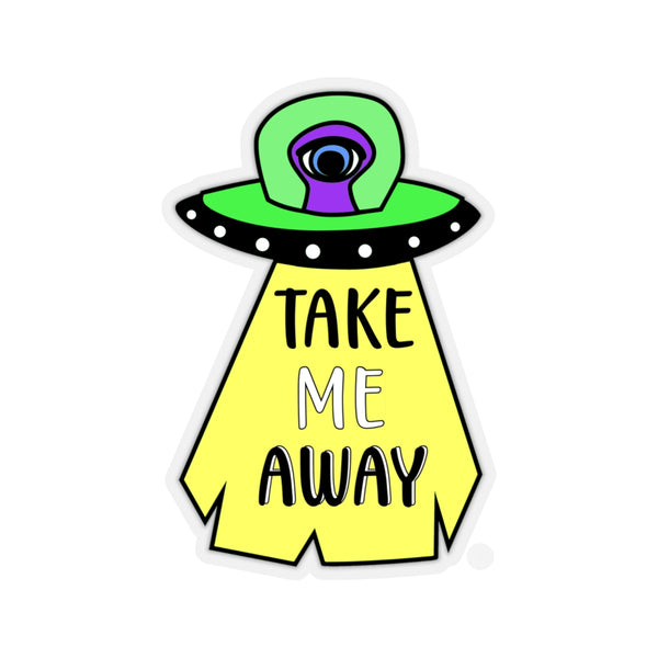 UFO Sticker, Alien UFO Sticker, Take Me Away Sticker, Alien Sticker, Space Sticker, UFO Abducting Sticker - jewelry-by-meesh