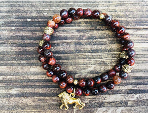 Lion Charm, Red Tigers Eye Beaded Wrap Bracelet, Lion Bracelet, Lion Charm Bracelet, Gold Charm Bracelet, Red Tigers Eye, Stretch Bracelet