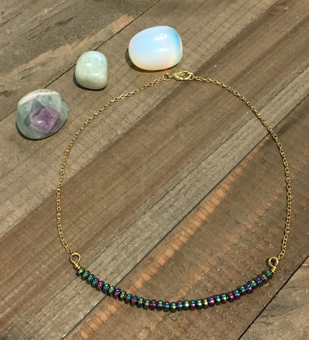 Rainbow Hematite Beaded Choker - jewelry-by-meesh