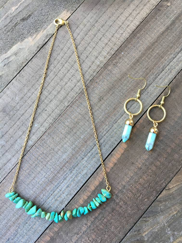 Turquoise Drop Earrings and Chip Necklace - jewelry-by-meesh