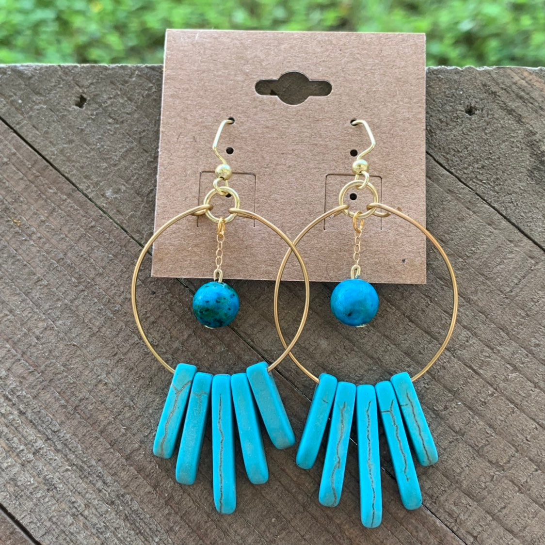 Turquoise Howlite and Dyed Aqua Hoop Earrings - jewelry-by-meesh