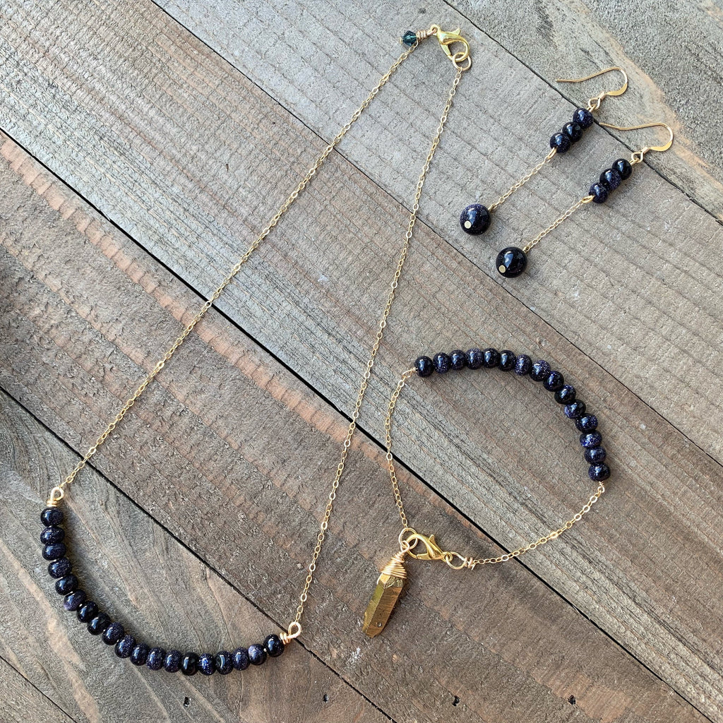 Blue Goldstone Jewelry Set - jewelry-by-meesh