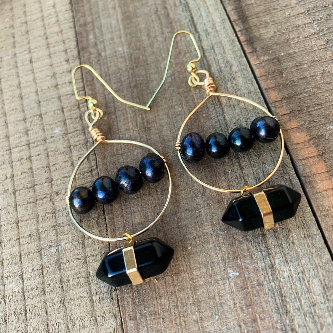 Pearl Hoop Earrings, Freshwater Pearl Earrings, Potato Pearl Earrings, 14k Gold Hoop Earrings, Black Pearl Earrings, Bohemian Hoop Earrings,