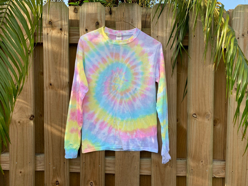 Kid's Long Sleeve Tie-Dye Tee, Rainbow Tie-Dye, Pastel Tie-Dye Shirt, Long Sleeve Tee, Unisex Long Sleeve Shirt, Rainbow Pastel Tie-Dye Tee