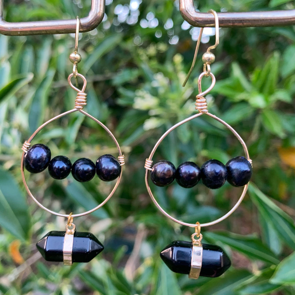 Black Point and Pearl Hoop Earrings - jewelry-by-meesh