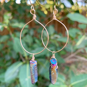 Titanium Rainbow Quartz Hoop Earrings - jewelry-by-meesh