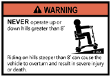 maximum incline warning label