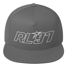 RL97 White Thread Flat Bill Hat