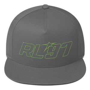 RL97 Green Thread Flat Bill Hat