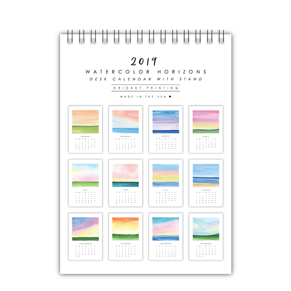 2019 Watercolor Horizons Desk Calendar