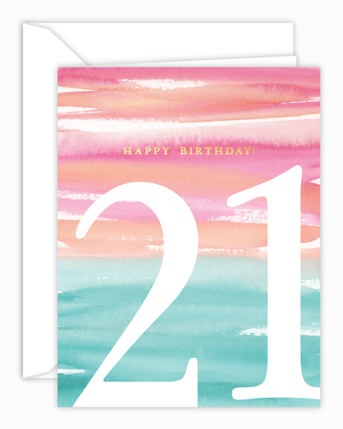 21st Birthday Watercolor Card
