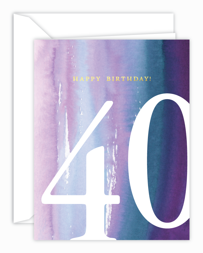 40th Birthday Watercolor Card
