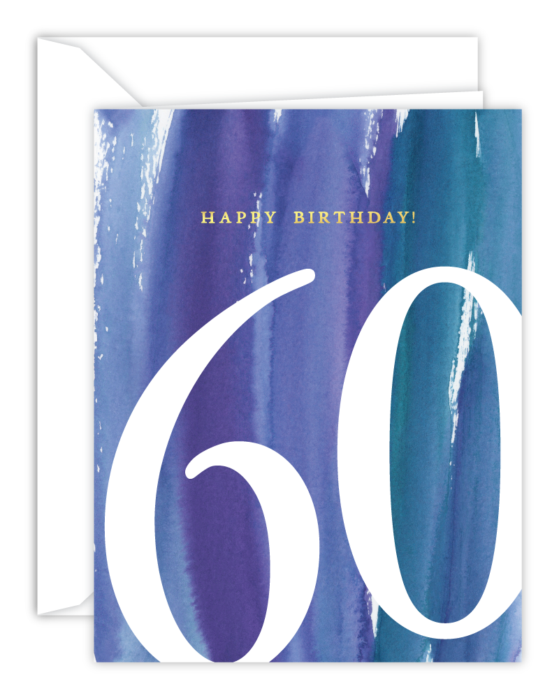 60th Birthday Watercolor Card