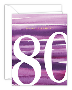 80th Birthday Watercolor Card