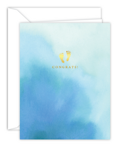 Congrats! Baby Feet Blue Watercolor Card