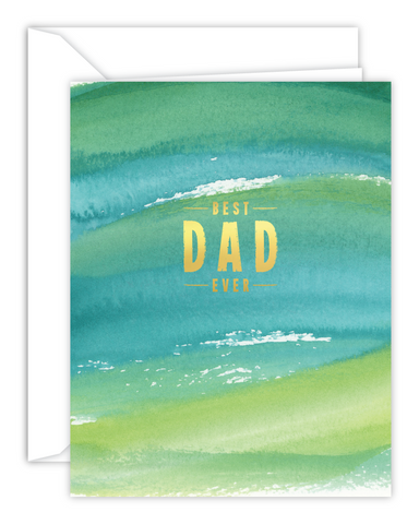 Best Dad Ever Green Watercolor Card