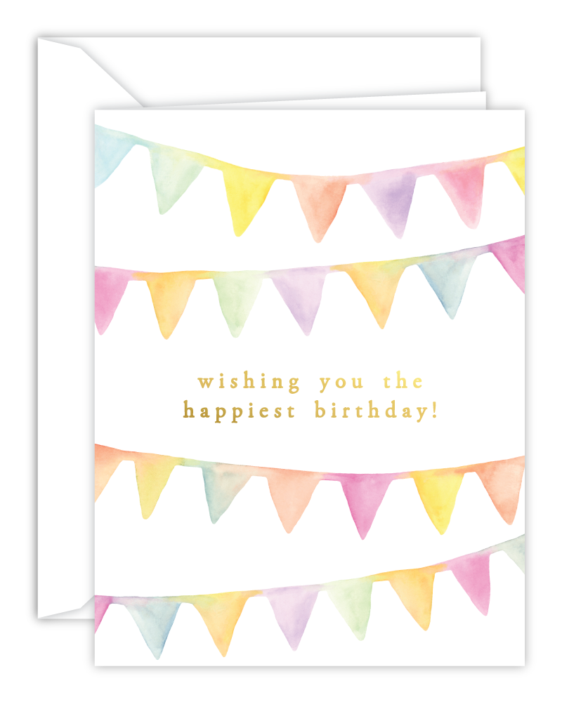 Happiest Birthday Watercolor Banners Card