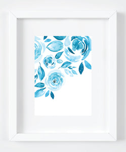 Blue Floral Watercolor Art Print