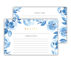 Blue Watercolor Floral Recipe Cards