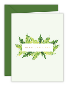 Merry Christmas Watercolor Branches Card