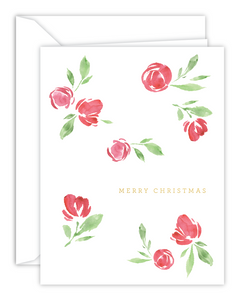 Merry Christmas Watercolor Florals Christmas Card