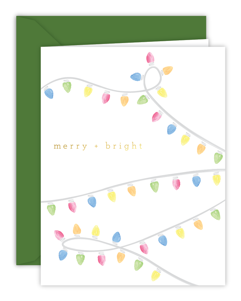 Merry + Bright Watercolor Lights Christmas Card