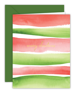 Merry Christmas Watercolor Stripes Card