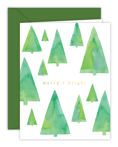 Merry + Bright Watercolor Trees Christmas Card
