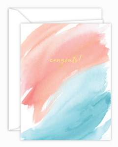 Congrats! Coral and Aqua Watercolor Card
