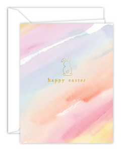 Happy Easter Gold Foil Bunny Watercolor Greeting Card