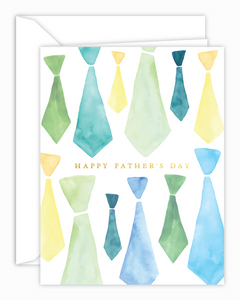 Happy Father's Day Watercolor Ties Card