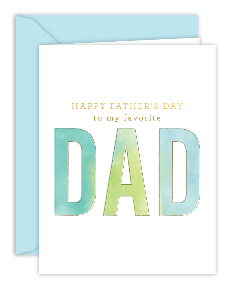 Favorite Dad Happy Father's Day Watercolor Card