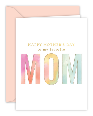 Favorite Mom Happy Mother's Day Watercolor Card