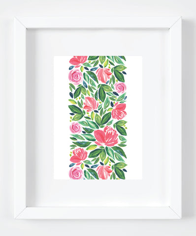 Floral Stripe Watercolor Art Print