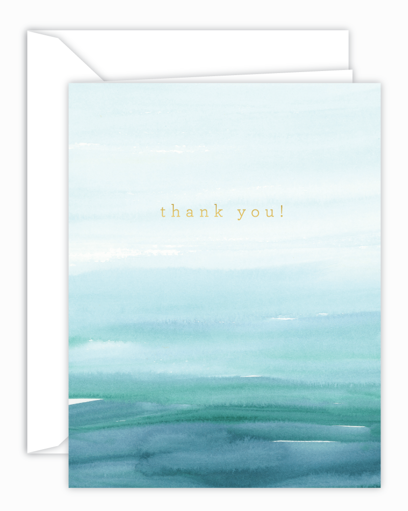 Thank You Teal Watercolor Wash Card