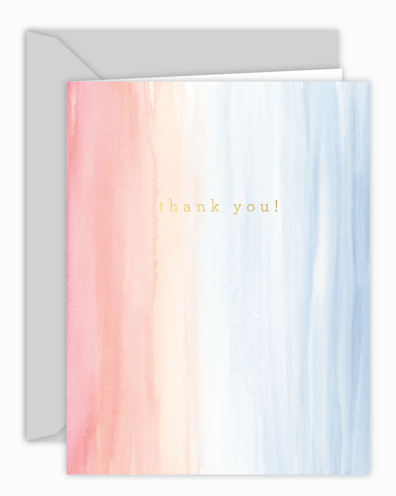 Thank You! Peach and Blue Watercolor Card
