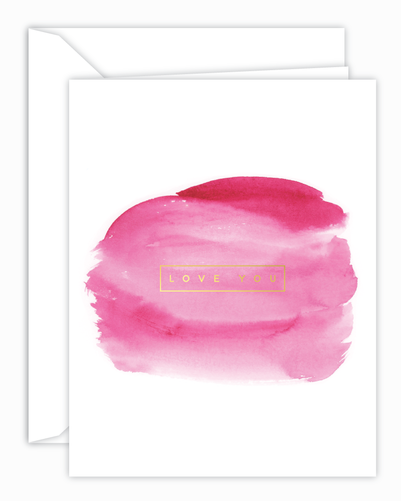 Love You Pink Watercolor Card