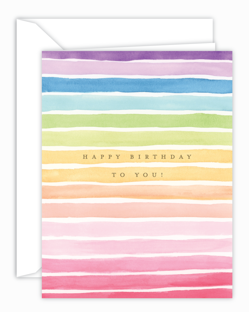 Happy Birthday Rainbow Stripes Watercolor Greeting Card