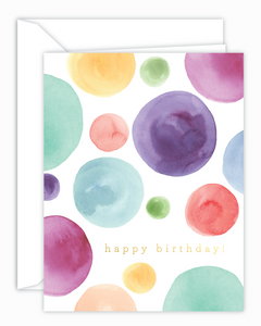 Happy Birthday Watercolor Dots Greeting Card